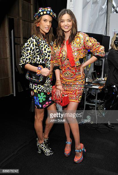 Models Alessandra Ambrosio and Miranda Kerr pose backstage at the Moschino Spring/Summer 17 Menswear and Women's Resort Collection during MADE LA at...