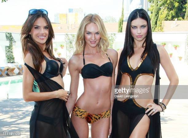 Models Alessandra Ambrosio Candice Swanepoel and Adriana Lima attend Victoria's Secret 2011 'SWIM' collection launch at the Mondrian Hotel on March...
