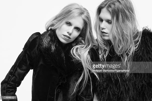 Models Alexandra Richards and Theodora Richards are photographed for Madame Figaro on May 12 2011 in Paris France Figaro ID 100942009 Coats by Isabel...