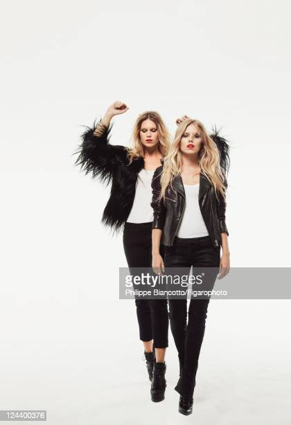 Models Alexandra Richards and Theodora Richards are photographed for Madame Figaro on May 12 2011 in Paris France Published image Figaro ID 100942007...