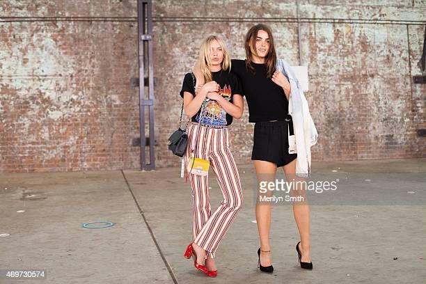 Models Alexandra Spencer and Bambi NorthwoodBlyth at MercedesBenz Fashion Week Australia 2015 at Carriageworks on April 14 2015 in Sydney Australia