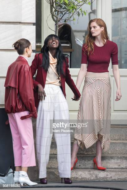 Models Alexina Graham and Luma Grothe are seen on the set of new 'L'Oreal' shooting at 'Broken Arm Cafe' on March 26 2018 in Paris France