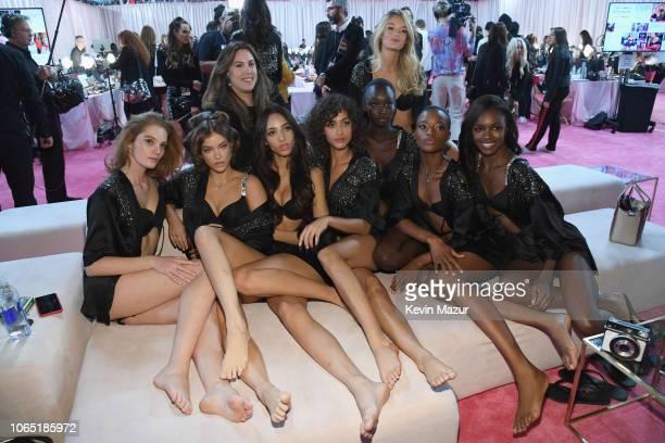 Models Alexina Graham, Barbara Palvin, Yasmin Wijnaldum, Mary Katrantzou, Alanna Arrington, Subah Koj, Willow Hand, Mayowa Nicholas, and Leomie...
