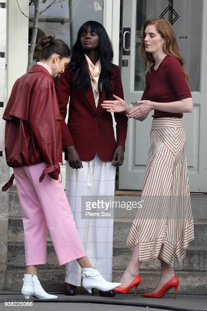 Models Alexina Graham Duckie Thot and Luma Grothe are seen on the set of new 'L'Oreal' shooting at 'Broken Arm Cafe' on March 26 2018 in Paris France
