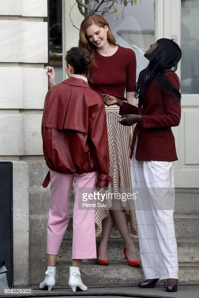 Models Alexina Graham Luma Grothe and Duckie Thot are seen on the set of new 'L'Oreal' shooting at 'Broken Arm Cafe' on March 26 2018 in Paris France