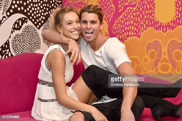 Models Alexis Ren and Jay Alvarrez pose at the Diane Von Furstenberg Fall 2016 show during New York Fashion Week on February 14 2016 in New York City