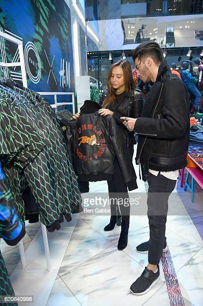 Models Alexis Ren and Toni Mahfud attend Kenzo x HM VIP PreShop Event on November 2 2016 in New York City