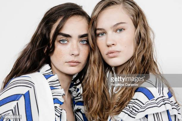 Models Alisha Nesvat Lex Herl are seen backstage ahead of the Philosophy Di Lorenzo Serafini show during Milan Fashion Week Spring/Summer 2019 on...