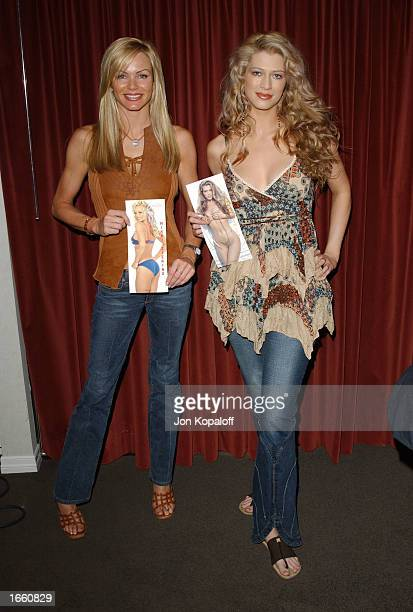 Models Amber Smith and Nikki Ziering help launch 'The Bench Warmer Trading Cards' 2002 Series' by signing her collectible trading cards at The Bel...