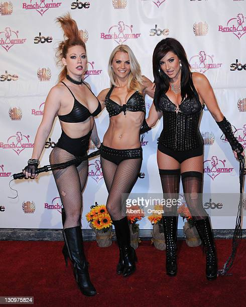 Models Amber Strausser Paige Peterson and Lindsey Dennis arrive for the Bench Warmer Trading Cards' Naughty Lingerie And Costume Ball held at The...