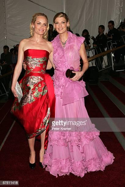 Models Amber Valletta and Linda Evangelista attend the Metropolitan Museum of Art Costume Institute Benefit Gala Anglomania at the Metropolitan...