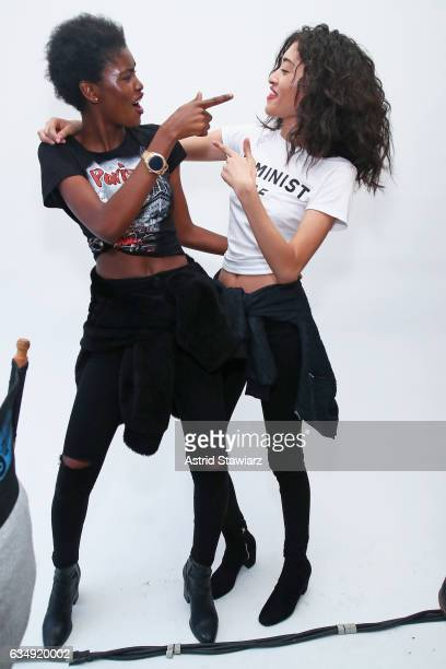 Models Amilna Estevao and Aqua Parios pose backstage for the Public School collection during New York Fashion Week The Shows at Milk Gallery on...