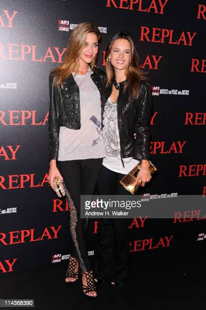 Models Ana Beatriz Barros and Alessandra Ambrosio attend the Jamiroquai and Replay Party during the 64th Annual Cannes Film Festival at the Martinez...