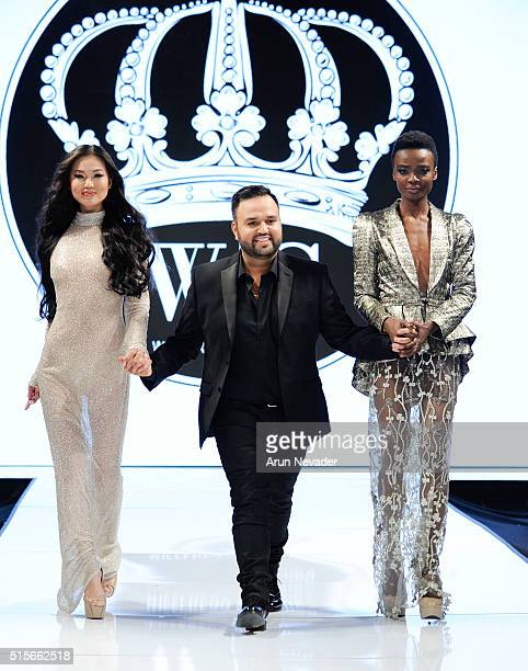 Models and designer Willfredo Gerardo walk the runway at the Art Hearts Fashion LAFW Fall/Winter 2016 Day 2 at Taglyan Cultural Complex on March 14...