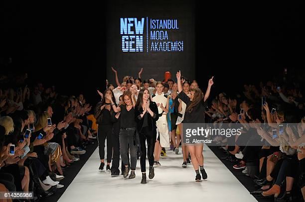 Models and designers walk the runway after the New Gen By Ima show during MercedesBenz Fashion Week Istanbul at Zorlu Center on October 13 2016 in...