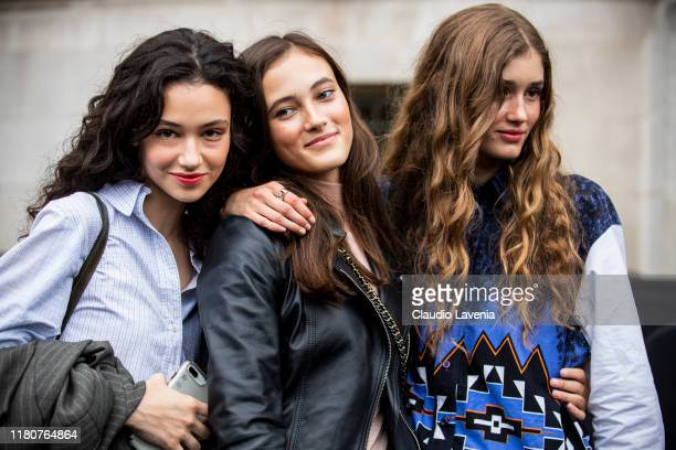 Models and Greta Varlese , beauty details, are seen outside the Chanel show during Paris Fashion Week - Womenswear Spring Summer 2020 on October 01,...