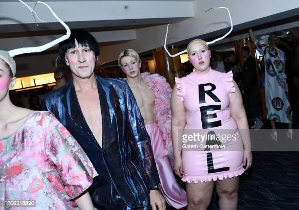 Models and Honey Kinney Ross backstage at the VIN + OMI show during London Fashion Week at The Savoy Hotel on February 14, 2020 in London, England.