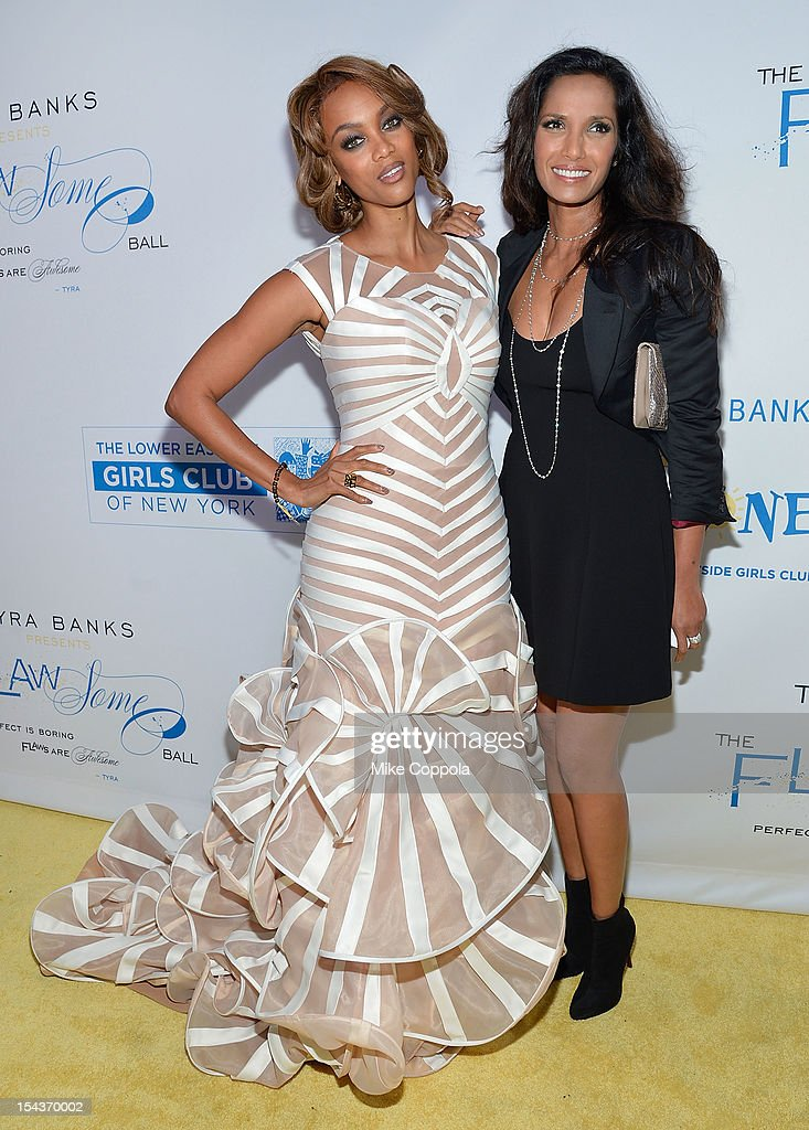 Models and television personalities Tyra Banks (L) and Padma Lakshmi attend The Flawsome Ball For The Tyra Banks TZONE at Capitale on October 18, 2012 in New York City.