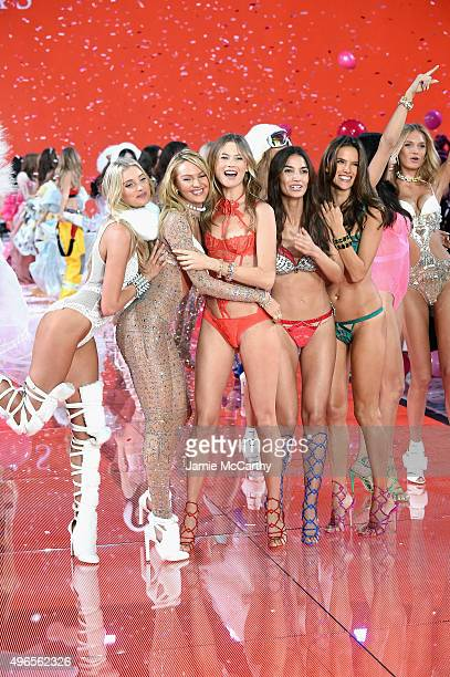 Models and Victoria's Secret Angels Elsa Hosk Candice Swanepoel Behati Prinsloo Lily Aldridge and Alessandra Ambrosio walk the runway during the 2015...