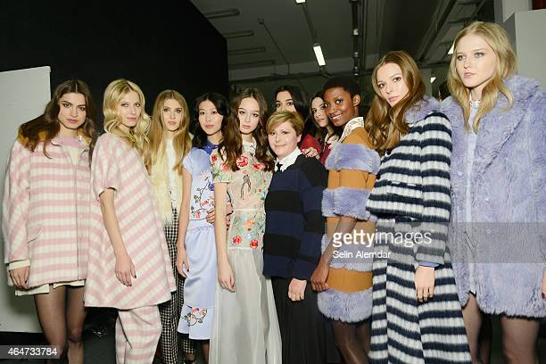 Models and Vivetta Ponti are seen backstage ahead of the Vivetta show during the Milan Fashion Week Autumn/Winter 2015 on February 28, 2015 in Milan,...