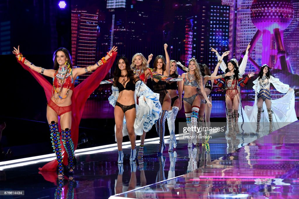 Models Angel Alessandra Ambrosio, Lily Aldridge, Elsa Hosk, Josephine Skriver, Stella Maxwell, Martha Hunt, Liu Wen and Ming Xi walk the runway during the 2017 Victoria's Secret Fashion Show In Shanghai at Mercedes-Benz Arena on November 20, 2017 in Shanghai, China.