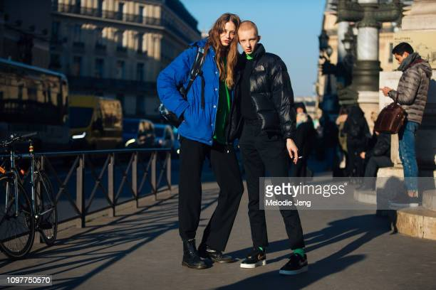 Models Anna Francesca Finn Buchanan after the Schiaparelli show during Couture SS19 Fashion Week on January 21 2019 in Paris France Finn wears a...