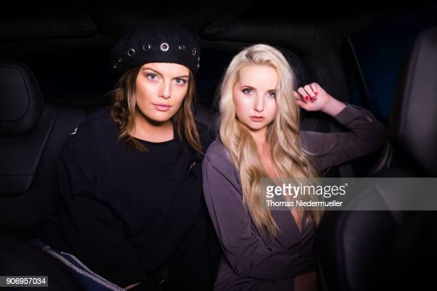 Models Anna Hiltrop and Vanessa Fuchs pose during the Berlin Fashion Week January 2018 at ewerk on January 18 2018 in Berlin Germany
