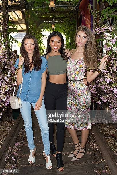 Models AnnaChristina Schwartz Meki Saldana and Ashley Haas attend the 4th Annual Olevolos Project Brunch at Gallow Green at the McKittrick Hotel on...