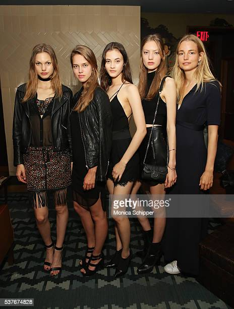 Models Annika Krijt Julia Jamin Greta Varlese Susanne Knipper and Elise Aarnink attend the The Daily's Summer premiere party at the Smyth Hotel on...
