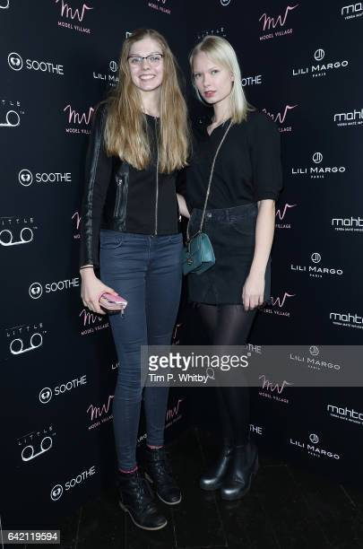 Models Anri Pretorius and Jenni Penttinen attend the Model Village Launch for the GameChanging Influencer App at Little Tape on February 16 2017 in...