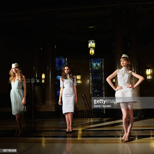 Models appear at the Natasha Zinko show during at the Fashion Scout venue during London Fashion Week SS14 at Freemasons Hall on September 16 2013 in...