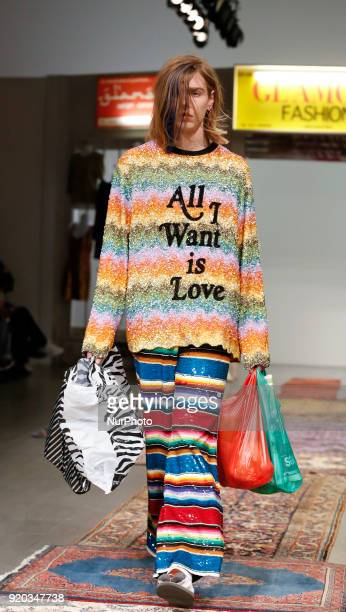 Models are presenting a new Autumn/Winter 2018 collection during London Fashion Week in the Store Studios showspace in London on the February 18 2018
