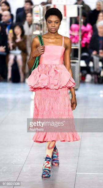 Models are presenting a new Autumn/Winter 2018 collection of Molly Goddard during London Fashion Weak in the Store Studios showspace in London on the...