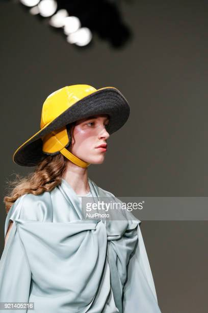 Models are presenting a new Autumn/Winter 2018 Eudon Choi collection during London Fashion Weak in the Store Studios showspace in London on the...