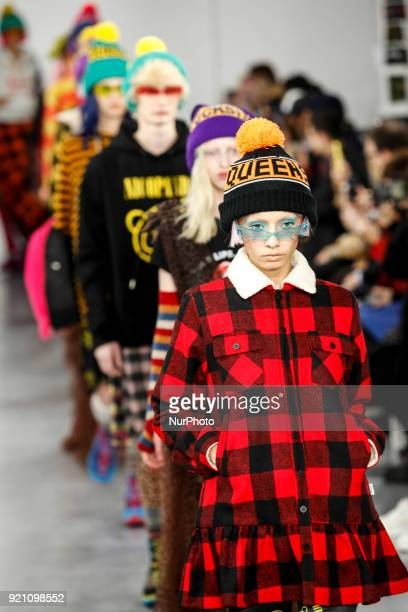 Models are presenting a new Autumn/Winter 2018 Nicopanda collection during London Fashion Weak in the Topshop showspace in London on the February 19,...