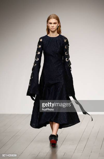 Models are presenting a new Autumn/Winter 2018 Teatum Jones collection during London Fashion Weak in the Store Studios showspace in London on the...