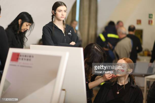 Models are seebackstage ahead of the Alexandra Moura show at Milan Fashion Week Autumn/Winter 2019/20 on February 25 2019 in Milan Italy