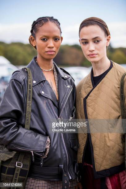 Models are seen after the Christian Dior show on September 24 2018 in Paris France