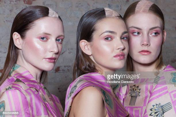 Models are seen ahead backstage of the Alberto Zambelli show during Milan Fashion Week Spring/Summer 2018 on September 20 2017 in Milan Italy