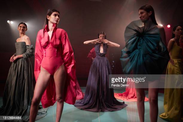 Models are seen ahead of the Cihan Nacar Lookbook for Istanbul Fashion Week on April 15, 2021 in Istanbul, Turkey.