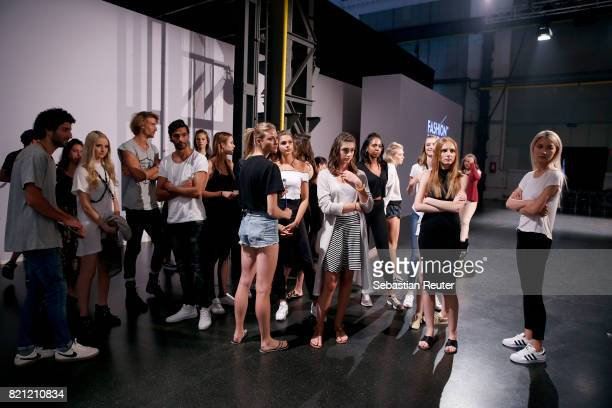 Models are seen ahead of the Fashionyard show during Platform Fashion July 2017 at Areal Boehler on July 23 2017 in Duesseldorf Germany