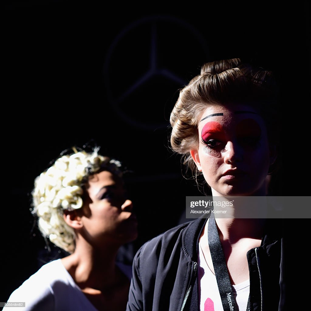 Models are seen ahead of the 'The Power Of Colors - MAYBELLINE New York Make-Up Runway' show during the Mercedes-Benz Fashion Week Berlin Autumn/Winter 2016 at Brandenburg Gate on January 18, 2016 in Berlin, Germany.