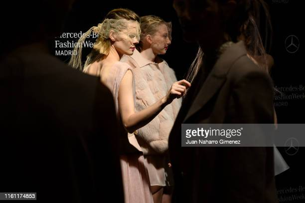 Models are seen at the backstage before the runway at Miguel Marinero show during Mercedes Benz Fashion Week Madrid Spring/Summer 2020 at Ifema on...