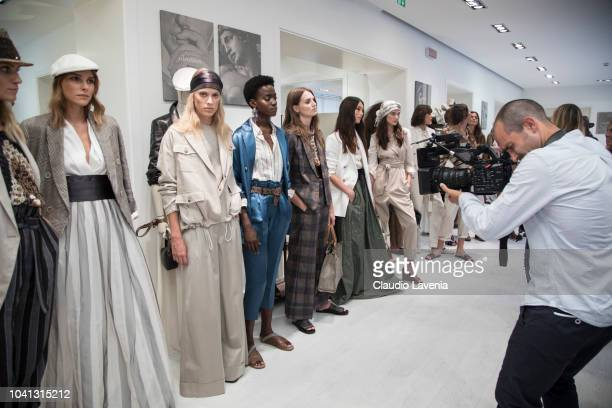 Models are seen at the Brunello Cucinelli during Milan Fashion Week Spring/Summer 2019 on September 19 2018 in Milan Italy