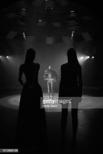 Models are seen at the Cihan Nacar Lookbook for Istanbul Fashion Week on April 15, 2021 in Istanbul, Turkey.