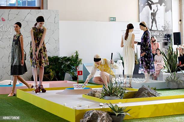 Models are seen at the Orla Kiely presentation during London Fashion Week Spring/Summer 2016 on September 19 2015 in London England