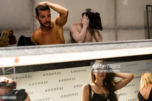 Models are seen backstage after Nuno Gama fashion show during Lisbon Fashion Week 'ModaLisboa' Spring/Summer 2018 at Pavilhao Carlos Lopes on October...