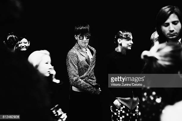 Models are seen backstage ahead of Emporio Armani show during Milan Fashion Week Fall/Winter 2016/17 on February 26 2016 in Milan Italy