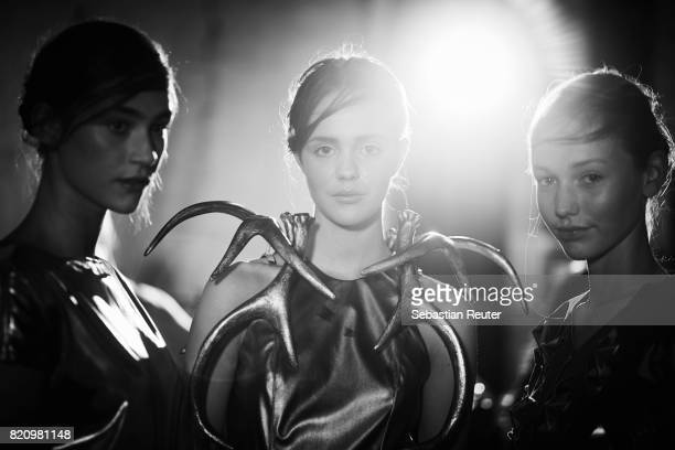Models are seen backstage ahead of the 3D Fashion Presented By Lexus/Voxelworld show during Platform Fashion July 2017 at Areal Boehler on July 22,...