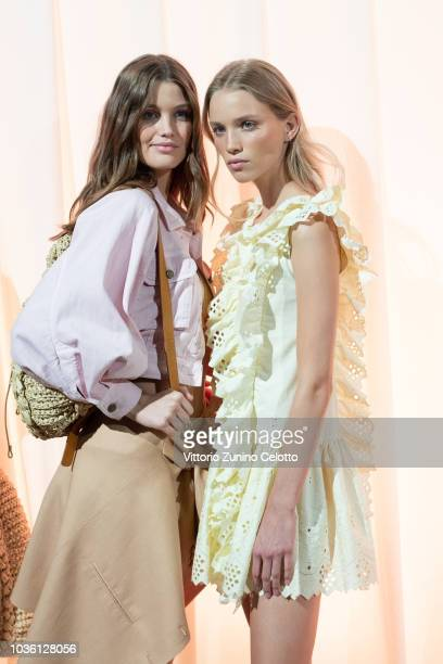 Models are seen backstage ahead of the Alberta Ferretti show during Milan Fashion Week Spring/Summer 2019 on September 19 2018 in Milan Italy